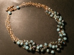Blue Beads Crocheted Necklace