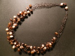 Brown Beads Crocheted Necklace