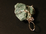 Green Stone Wire Wrapped Pendant
