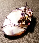 Purple Embellished Wire Wrapped Pendant